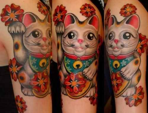 maneki-neko tattoo