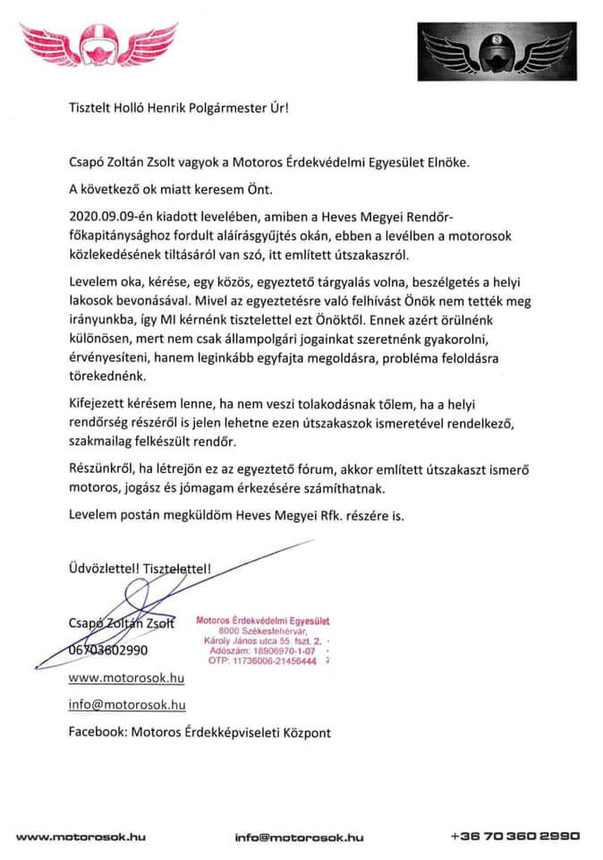 Csapó Zoltán Zsolt Motoros Érdekképviseleti Egyesület Parádsasvár aláírásgyűjtés levél