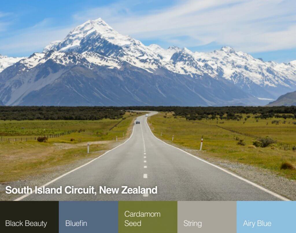South Island Circuit Új zéland színpaletta