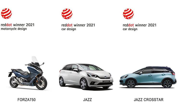 A Honda FORZA 750, A JAZZ E:HEV ÉS A JAZZ CROSSTAR E:HEV IS RED DOT DÍJAT NYERT 2021-BEN